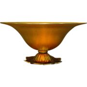 Steuben gold aurene rare flower footed bowl shape 6058