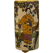 Orientalist 1920's hand painted vase woman and bird artist signed