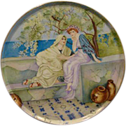 GDA Limoges France large porcelain plaque charger with women beside sea artist signed