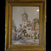 European village watercolor painting by G Tehrnickel late 1800's
