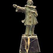Antique bronze sculpture of clown black marble base