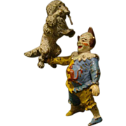 Vienna bronze Austrian cold painted clown and circus dog poodle sculptures
