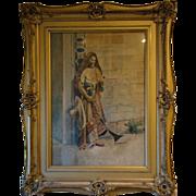 J Monterri Italian watercolor painting orientalist theme man with rifle