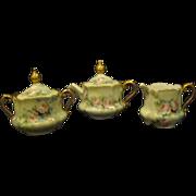 Hand painted roses porcelain tea set service teapot creamer sugar GORGEOUS