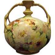 Limoges Jean Pouyat unusual hand painted floral handled vase