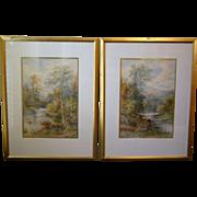 John Rock Jones signed pair of English landscape watercolor paintings late 1800's