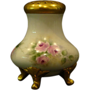 Hand painted roses porcelain sugar or powder shaker gold footed