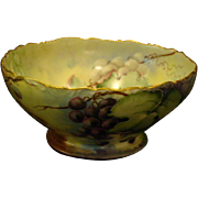 T&V Limoges hand painted grapes punch bowl artist signed dated