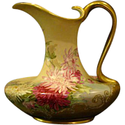 Hand painted floral chrysanthemum large handled ewer pitcher