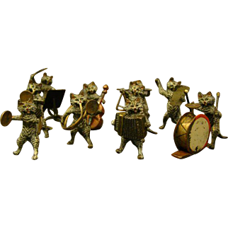 Vienna Austrian bronze cold painted band orchestra cat musician sculptures