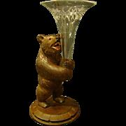 Antique hand carved Black Forest bear vase etched  glass insert