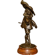 Louis Kley antique bronze sculpture of child dressed in costume late 1800's