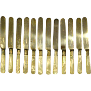 Mother of pearl English silverplate set of twelve matching knives hallmark