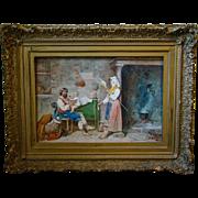Antique Riccardi Italian watercolor interior scene family with baby