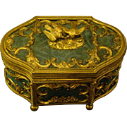 Antique French ornate dresser box with lovebirds kissing finial