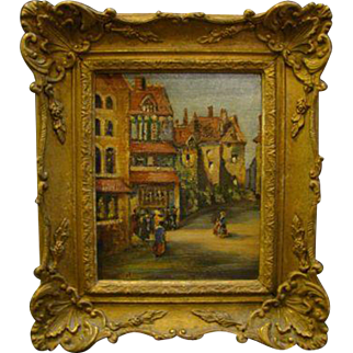 Noel signed antique impressionist street village scene oil painting