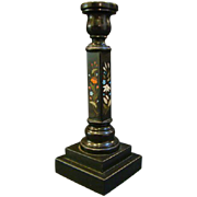Antique pietra dura tall candlestick
