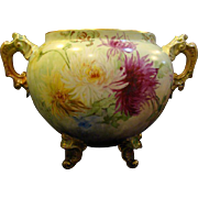 Limoges large hand painted floral jardiniere ornate scalloped feet and handles
