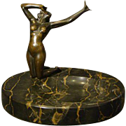 Austrian bronze and marble sculpture art deco nude woman dish tray