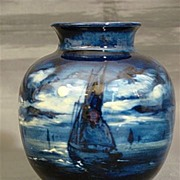 Royal Doulton deep blue vase ships in moonlight