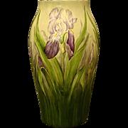 "Limoges T&V huge 15"" hand painted iris vase stunning"