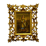 Porcelain plaque saint in ruins with gesso frame