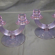 SOLD Fostoria Wisteria pair #2447 double candlesticks alexandrite