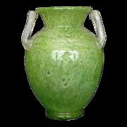 Steuben green cluthra M handle urn signed