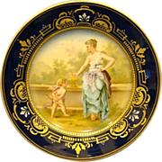 Austrian hand painted portrait plate maiden and cupid Franz Dorfl
