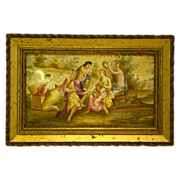 SALE PENDING Early French enamel plaque women in pastoral setting