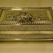 Tufts Victorian silverplate dresser box with children and dog
