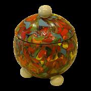 Loetz Ausfuhrung 237 signed art glass covered jar