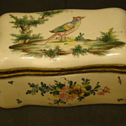 French faience pottery dresser box birds and flowers