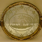 SALE Venetian etched and enameled round mirror tray
