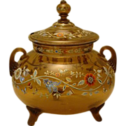 Moser enameled glass covered punch bowl tureen