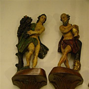 SALE Hand carved pair of  hanging wall figurines