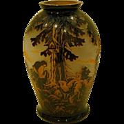 CMS Krasno cameo cut scenic art glass vase signed