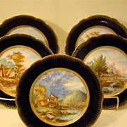 Cobalt blue porcelain set of five scenic antique plates