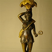 Antique French bronze figural candlestick candle lamp