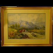 Joseph Milne watercolor cows Ben Lomond Scotland