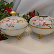 Delightful Limoges 1912 Dresser Set; Apple Blossoms; Hair Receiver; Powder Jar