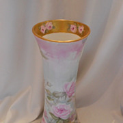 Beautiful & Large German Heinrich Vase; Pink & Yellow Roses