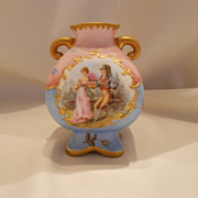 Adorable Martial Redon Limoges Handled Vase; Nobleman, Ladies