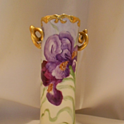 Beautiful Limoges Twisted Handle Vase; Vibrant Bearded Iris