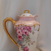 Beautiful Limoges Chocolate/Cocoa Pot; Soft, Feminine Rose Cascades