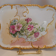 Delightful Vintage Dresser Tray; Wonderful Pink Morning Glories; Gold Lattice, Scroll & Beading