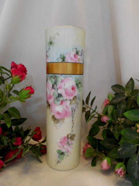 Beautiful Bavarian Cylinder Vase; Roses; Artist; Gold Banding