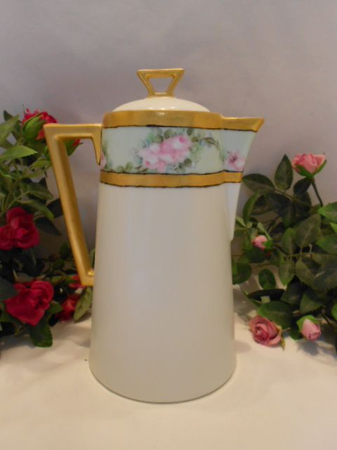 Lovely Deco Bavarian Chocolate Pot; Roses; Artist; Gold