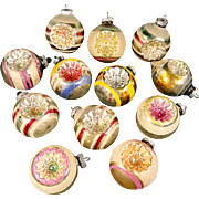Beautiful Box 12 Large Shiny Brite Mica Snow Covered Indents Glass Christmas Ornaments Indents Reflectors
