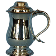 18th Century Old Sheffield Plate Tankard with Heart-shaped Terminal & Hinged, Domed Lid